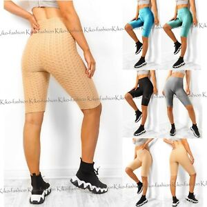 Women Ladies Anti Cellulite Yoga Waffle Shorts Scrunch Push Up Cycling Sports