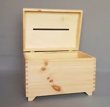 Large Wooden Wedding Boxes With Slot on Top Money Card Storage Plain Wood Craft