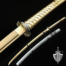 "Samurai Sword,Gold 40"" Full Handmade High Carbon Steel Japanese Katana Sword"