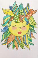 "9 x 6 ORIGINAL WATERCOLOR ART PAINTING FANTASY  "" DIVA SUN""  ACEO ARTIST"