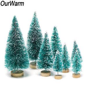 8Pcs Mini Sisal Christmas Trees Ornament Snow Frost Small Pine Tree Xmas Decor