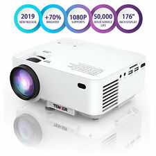 TENKER White LCD Mini Projector for Laptop Andriod iPhone Portable Home Theater