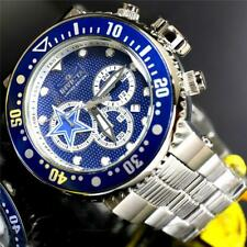 Invicta NFL Grand Pro Diver Dallas Cowboys Steel 52mm Blue Chronograph Watch New