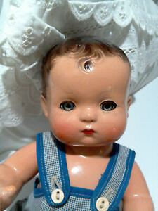 """Adorable Vintage 1930's Effanbee 11"""" Dressed Composition Patsy Baby Doll"""