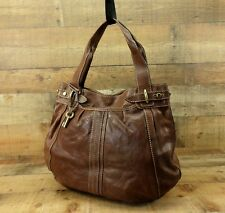 Fossil Leather Tote Handbag Hobo Purse Bag Key Large Western Brown