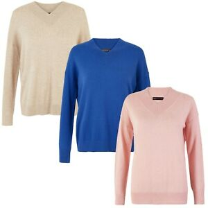 M&S Soft Touch Jumper New Marks & Spencer Womens V Neck Long Sleeve Knitted Top