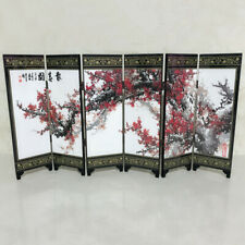 6-Panel Peking Wood Screen Room Divider Wood Folding Partition Crafts Decoration