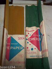 2 VINTAGE 29 CENT PACKS DENNISON FLAME PROOF CREPE PAPER 2 YDS EA GREEN & GOLD
