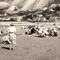 Vintage 1930s RPPC The Sands Llanfairfechan Postcard Beach People United Kingdom