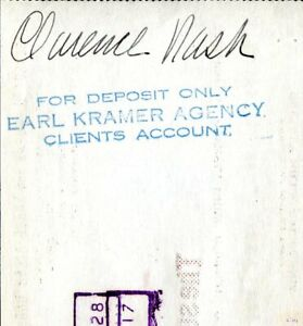 Clarence Nash (voice of Donald Duck) endorsed George Burns signed check 1942