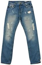 Adrian Hammond Boyle Mens Tattered Ripped Jeans W36 Blue Button Fly Slim Tapered