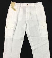 CARIBBEAN Men's White100% LINEN Cargo Pants 40x32 40 32 New Beach Wear $79+