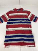 Polo Ralph Lauren Mens Polo Size Large Red Blue And Gray Striped Vintage