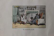 1828 Henri Monnier Lithographie originale mise en couleurs à l'époque Béranger