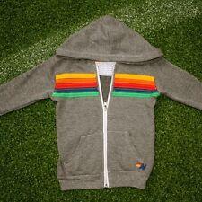 Aviator Nation Kids Rainbow Stripe Stitch Zip Hoodie - Heather Grey Size 4