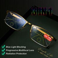 Unisex Multifocal Reading Glasses Blue Light Blocking Presbyopia Eyeglasses New