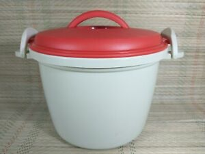 Vintage Hot Food Bowl- Picnic - Plastic With Red Clip on Lid - 19cm Diameter