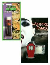 Halloween Vampire Dracula Fake Blood Fangs Caps Teeth Make Up Fancy Dress