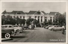 Curacao NWI Old Cars & Municipal Bldg Real Photo Postcard