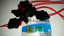4 X Portafusibles Autocaravana Coche Furgoneta 10 AMP Blade estilo amueblada 12v 24v UK Joblot