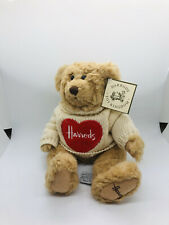 """Harrods light brown jointed 12"""" teddy bear cream sweater red heart as is"""