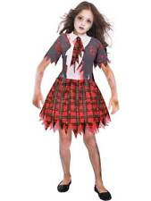 Zombie School Girl Costume Girls Halloween Scary Fancy Dress Outfit Child Kids