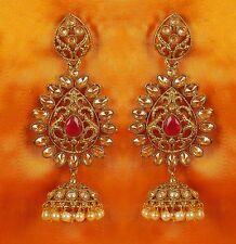 Jhumka Jhumki Polki Jewelry Set Indian Earrings Gold Plated Bollywood Wedding