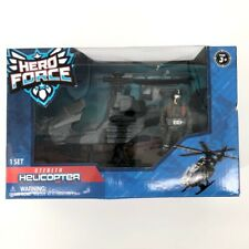 Hero Force Stealth Helicopter Pilot Included 9 Accessories Propeller Spins Toy