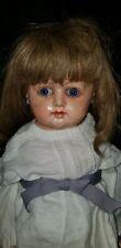 """Antique Paper Mache Papier Mache Blue Glass Eye Shoulder Head Doll 29"""""""