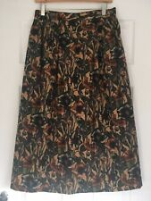 Liberty Vintage Floral Wool Maxi Calf Skirt 12 14 Long Brown Blue Green HandMade