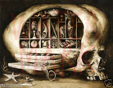 Vintage scary painting/weird and macabre skull /Poster /17x22 inch