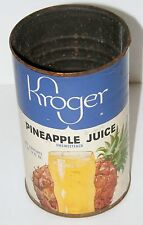 Vintage 1960s? Kroger Pineapple Juice Paper Label Metal Tin Can Advertising