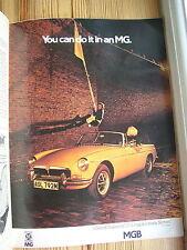 Vintage MG Auto annuncio 1974 GIALLO MGB SPORT OPEN SOFT TOP? Roadster Escape 1970s 70s