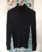 Gap Womens Black Cotton Turtle Roll Neck Top Size L Ribbed Casual