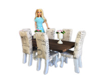 MiniMolly Dollhouse 1:6 Barbie Size Dining Furniture Table Chairs Flowers