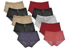 6 Pack High Waist French Knickers Lace Panties Brief Floral Underpants Underwear