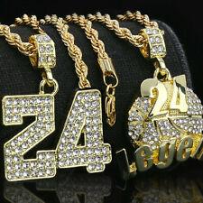 """14k Gold PT #24 Legend  Fully Cz Pendant 24"""" Rope Chain R.I.P 4pcs Bundle set GD"""