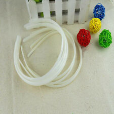12Pcs White Plastic Headband Covered Satin Hair Band 10mm for DIY Craft New