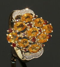 9 Carat Yellow Gold Citrine & Garnet Cluster Ring Size M 1/2 9CT (80.19.559)