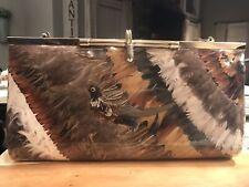 Vintage Pheasant Feather Bird Purse Shoulder Bag Pink Interior
