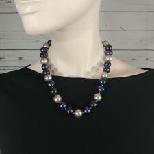 "Park Lane Jewelry ""BLUEBERRY FROST""  Necklace pearl chocker length"