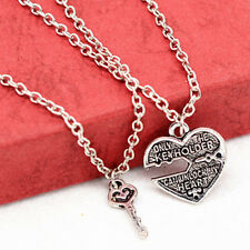 1 Pair Vintage Love Heart Key Pendant Necklace Best Friends Lover Couple Jewelry
