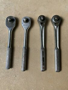 """2 VINTAGE CRAFTSMAN and 2 VINTAGE PROTO 1/2"""" ratchets MADE IN THE USA"""