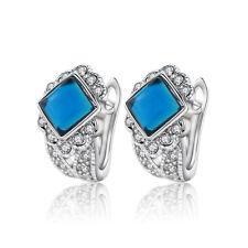 White Gold Plated & Dark Denim Blue Crystal Stone Hoops Women Earrings E1000