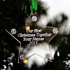 Personalised Christmas Tree Star Bauble Decoration Couples First Christmas Decs