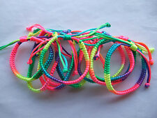 3 X Rainbow Satin Cord Macrame Woven Friendship Wristband Bracelet Party Surfer