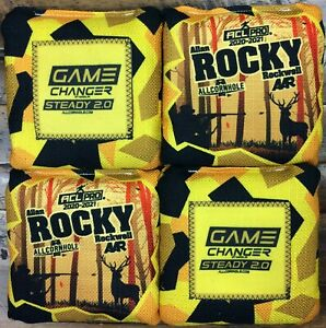 Game Changer Steady 2.0 Cornhole Bags Rocky Rockwell Yellow Hunting