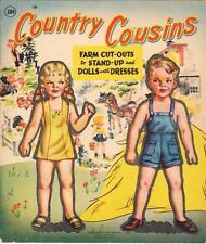 Vintge 1950 Country Cousins Paper Dolls ~Cute Laser Reproduction~Orig Size Uncut