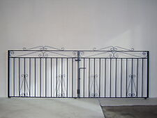 Quality wrought iron double driveway gate 7ft opening 3ft high with fittings