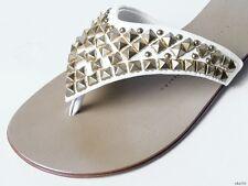 new $550 Giuseppe ZANOTTI white leather gold STUDDED thong mules flat shoes 36 6